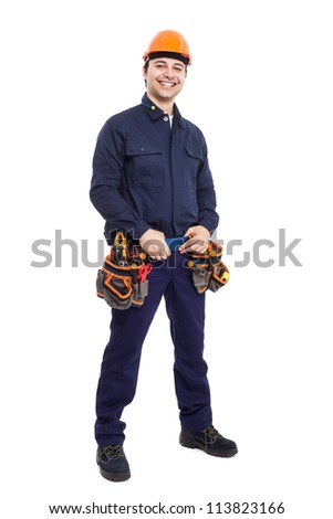 Full length portrait of an happy worker