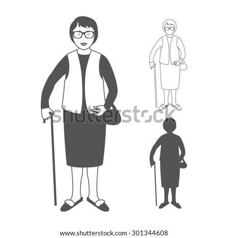 Full length portrait of an nice old woman standing with cane isolated on white background. Realistic image. Full body woman isolated on white background.  - stock photo