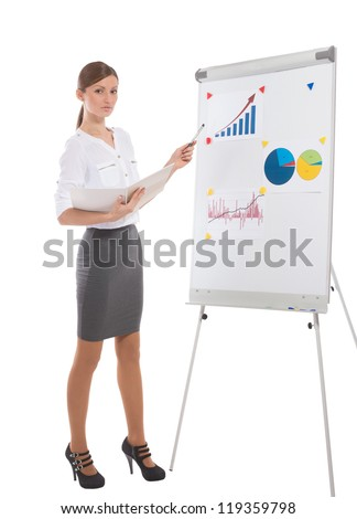 Full length portrait of an office lady during business presentation, on white background - stock photo
