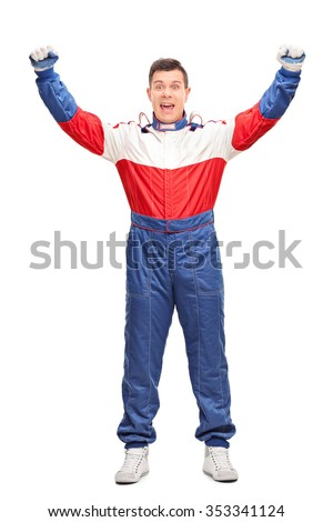 Full length portrait of an overjoyed car racer gesturing happiness isolated on white background - stock photo