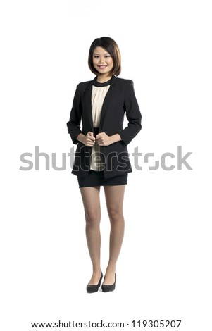 Full length portrait of attractive chinese woman on white background.