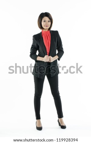 Full length portrait of attractive chinese woman on white background. - stock photo