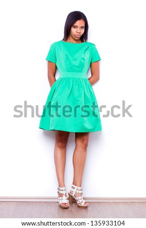 full length portrait of beautiful Afro American woman