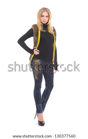 Full length portrait of beautiful blond girl - stock photo