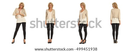 Full length portrait of beautiful blonde in beige bolero jacket isolated