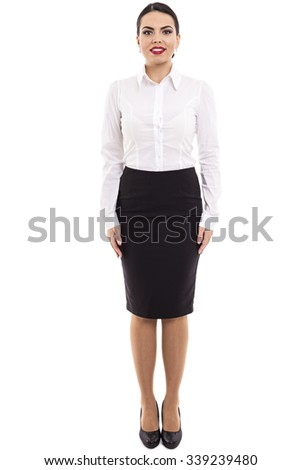 Full length portrait of beautiful business woman isolated over white background - stock photo
