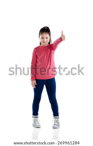 Full length portrait of  beautiful little girl giving you a thumbs up on white background - stock photo
