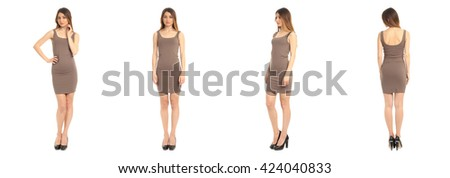 Full length portrait of beautiful teen in dress isolated