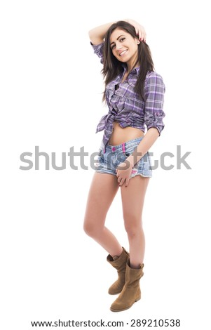 Full length portrait of beautiful  teenage girl  wearing fashionable casual clothes isolated on white background - stock photo