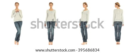 Full length portrait of beautiful woman in jacket and jeans - stock photo