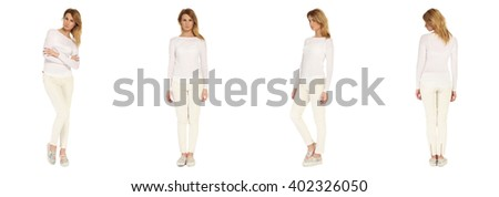 Full length portrait of beautiful woman in pants