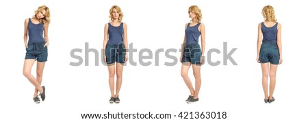 Full length portrait of beautiful woman in  shorts - stock photo