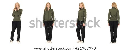 Full length portrait of beautiful woman in  sport pants isolated