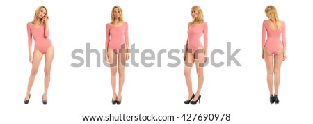 Full length portrait of beautiful women in bodysuit isolated