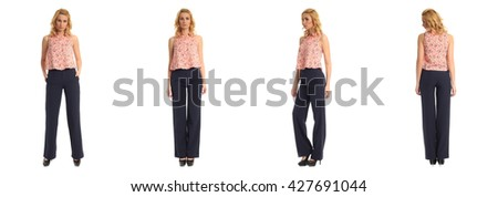 Full length portrait of beautiful women in trousers isolated