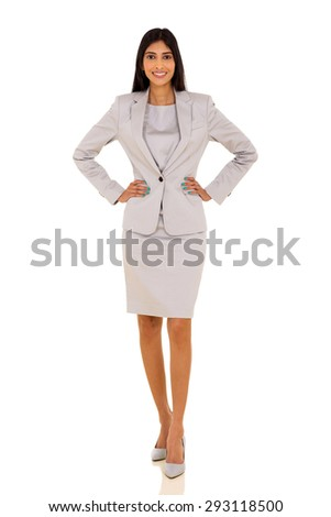 full length portrait of beautiful young business woman posing on white - stock photo