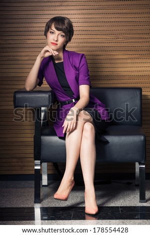 full-length portrait of beautiful young woman - stock photo