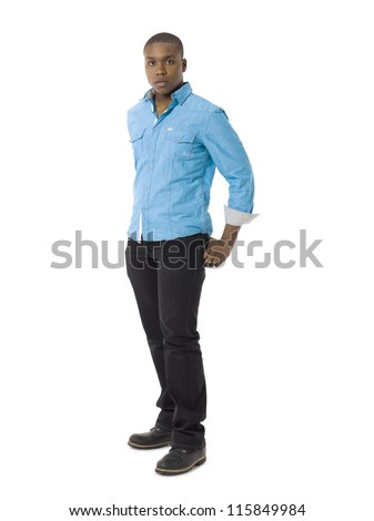 Full length portrait of black young guy against white background - stock photo