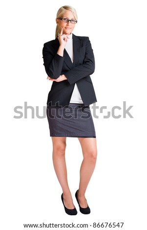 Full length portrait of blond business woman isolated on white background. - stock photo
