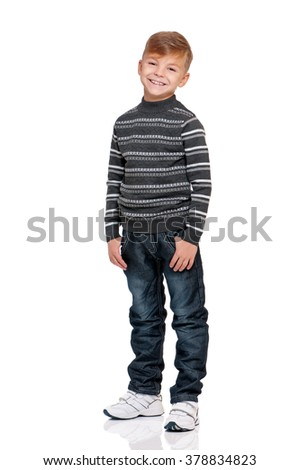 Full length portrait of boy, isolated on white background