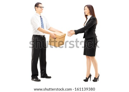 Full length portrait of business colleagues collaborating isolated on white background - stock photo