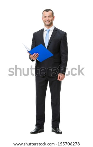 Full-length portrait of business man handing folder, isolated on white. Concept of leadership and success - stock photo