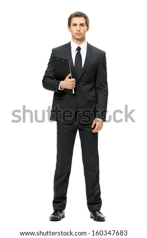 Full-length portrait of business man with folder, isolated on white. Concept of leadership and success