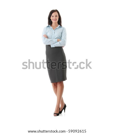 Full length portrait of business woman, isolated - stock photo