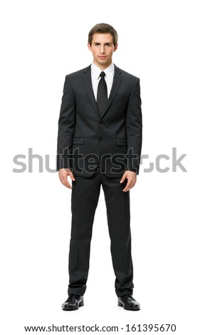 Full-length portrait of businessman, isolated on white. Concept of leadership and success - stock photo