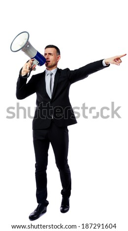 Full length portrait of businessman shout through megaphone isolated on white background - stock photo