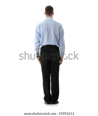 Full length portrait of businessman standing back, isolated - stock photo