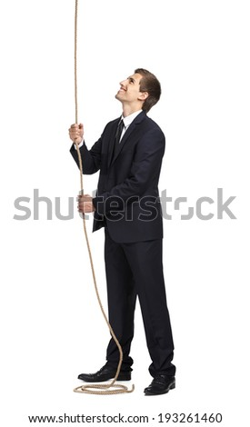 Full-length portrait of businessman swarming up the line, isolated on white. Concept of job promotion and hard work - stock photo