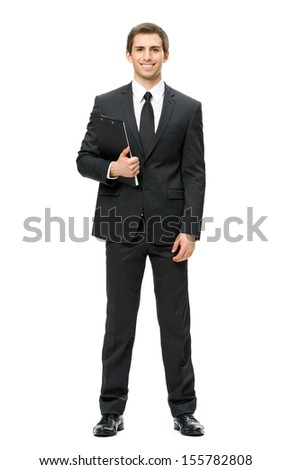 Full-length portrait of businessman with folder, isolated on white. Concept of leadership and success - stock photo