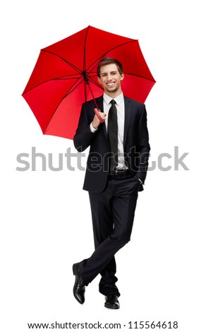 Full length portrait of businessman with opened opened umbrella, isolated on white - stock photo