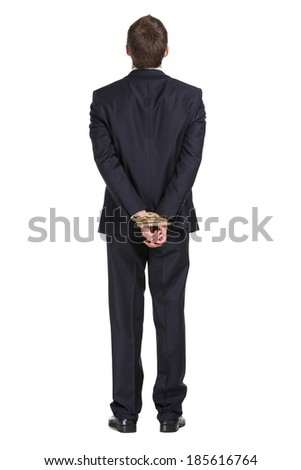 Full-length portrait of businessman with tied hands, isolated on white. Concept of slavery and hard work - stock photo