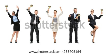 Full-length portrait of businessmen keeping golden cup and fist up gesturing, isolated on white. Concept of victory and success - stock photo