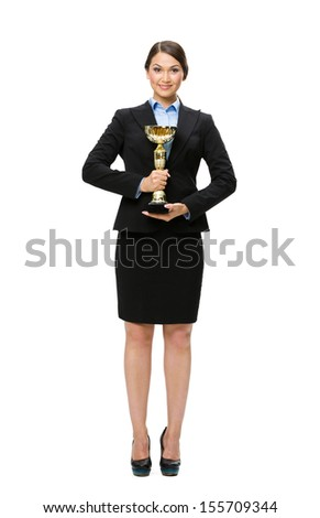 Full-length portrait of businesswoman with gold cup, isolated on white. Concept of victory and success - stock photo