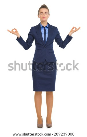 Full length portrait of calm business woman