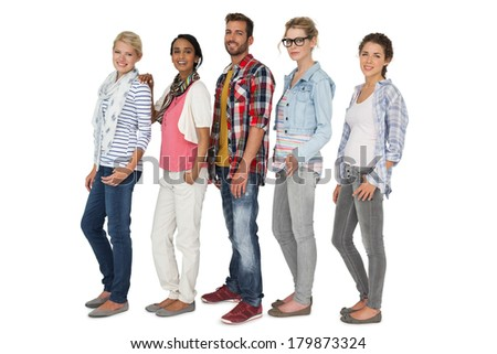 Full length portrait of casually dressed young people over white background