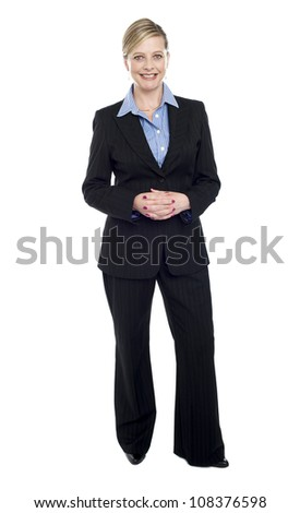 Full length portrait of caucasian businesswoman isolated over white background - stock photo