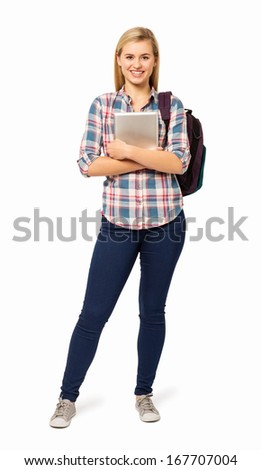 Full length portrait of college student with backpack and digital tablet isolated over white background. Vertical shot. - stock photo