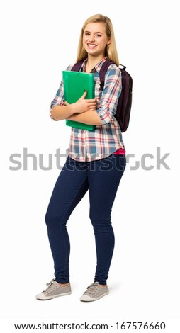 Full length portrait of college student with backpack and file against white background. Vertical shot.