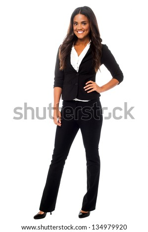 Full length portrait of company manager posing in style. - stock photo