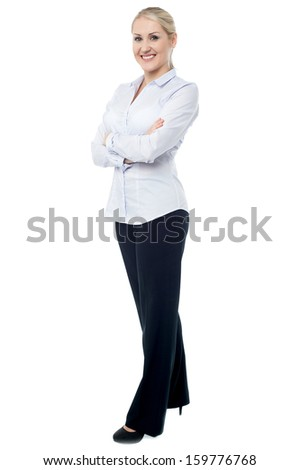 Full length portrait of confident business woman - stock photo