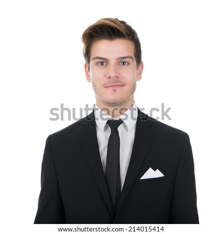 Full length portrait of confident businessman standing isolated over white background - stock photo