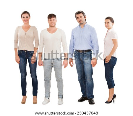 Full length portrait of confident businesspeople standing in row against white background - stock photo