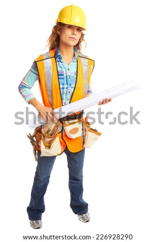Full length portrait of confident female construction worker holding blueprint isolated on white background - stock photo