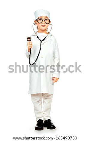 Full length portrait of cute smiling boy playing a doctor. Different occupations. Isolated over white. - stock photo