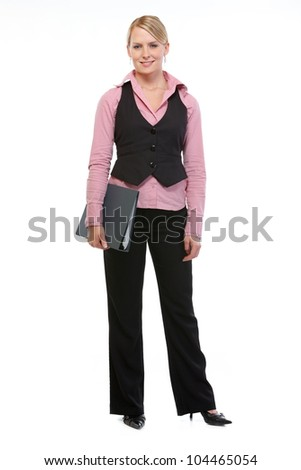 Full length portrait of employee woman with folder - stock photo