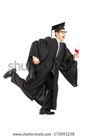 Full length portrait of graduate student running and holding a diploma isolated on white background - stock photo